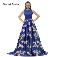 Find More Evening Dresses Information about Romantic Royal Blue A Line Beaded Floral Print Evening Dresses 2017 Formal Engagement Prom Gowns vestido longo de festa B007,High Quality vestido longo de festa,China evening dress Suppliers, Cheap print evening dress from modest saying Lacebridal Store on Aliexpress.com