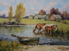 By the watering place. Oil on canvas. Decorating Your Home, Oil On Canvas, Horses, Places, Nature, Landscapes, Painting, Animals, Art