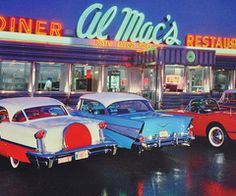 Find images and videos about photography, vintage and retro on We Heart It - the app to get lost in what you love. 1950 American Diner, 1950 Diner, Vintage Diner, Retro Diner, Vintage Signs, Vintage Cars, Vintage Restaurant, Vintage Auto, Restaurant Ideas