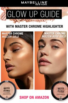 Get the ultimate Summer glow with the Maybelline Master Chrome Highlighter! Sweep on 'molten gold' or 'molten rose gold' to the tops of cheekbones and whereever you want to shine. The pearl pigments leave a reflective finish for a brilliant glowing skin. Shop now on Amazon!