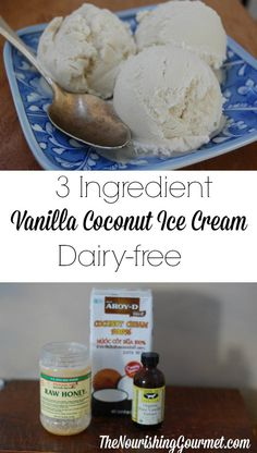 This amazing yet SIMPLE coconut milk vanilla ice cream is so good! It's lovely for enjoying by itself with fresh fruit pies cobblers and more. Plus it's completely dairy free and egg free! That makes it vegan AND paleo friendly. --- The Nourishing Gourmet Paleo Ice Cream, Dairy Free Ice Cream, Homemade Ice Cream, Ice Cream Recipes, Ice Cream Coconut Milk, Vegan Vanilla Ice Cream Recipe, Recipes With Coconut Milk, Fruit Ice Cream, Ice Milk