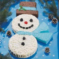 Snowman Cake Recipe -You can create this snowman without any special equipment. Kids and adults with smile when they see this cute cake.—Betsey Ross, Chebeague Island, Maine