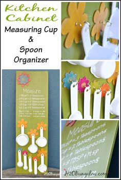 Hanging measuring cup and spoon organizer is a good way to free up drawer space and keep measuring tools handy and easy to find when you need them. www.H2OBungalow