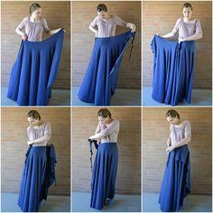 "Adjustable One-Seam ""No-Flashing"" Wrap Skirt"