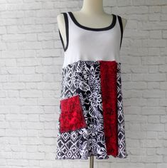 Refashioned Tunic Top for Women - Summer Clothes - Vacation Travel Parties - Black Red White - Ikat Floral Cotton Print SleevelessBlouse by ThankfulRose on Etsy