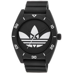adidas ADH2967 Santiago Watch with Textured Silicone Band ($95) ❤ liked on Polyvore featuring jewelry, watches, accessories, leather-strap watches, silicone jewelry, silicon watches, dial watches and silicone watches