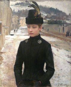 Emile Friant ~ Giovane donna di Nancy in un paesaggio invernale (1887)