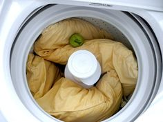 put two pillows into your washing machine on the hot cycle with one cup of bleach and regular detergent. Run them through the washing machine with an extra rinse cycle. Place them in the dryer with some tennis balls so they don't lose their shape. Household Cleaning Tips, Deep Cleaning Tips, House Cleaning Tips, Diy Cleaning Products, Cleaning Solutions, Spring Cleaning, Cleaning Hacks, Cleaning Recipes, Cleaning Lists