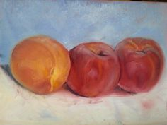 Fresh peaches from the market in St. Girons, painted in oil on board on the balcony today (original oil painting by Rebecca Stebbins).