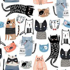 Gatos Vector, Wallpaper Kawaii, Cat Fabric, Cute Kittens, Cat Drawing, Cat Art, Collages, Funny Cats, Art For Kids