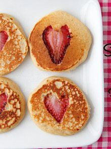 Strawberry Heart Pancakes breakfast recipe from Weelicious.com