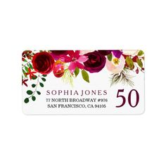 Shop Burgundy Red Floral Boho Wedding Address Labels created by Nicheandnest. Personalize it with photos & text or purchase as is! Red Birthday Party, 90th Birthday Parties, Birthday Gifts, Happy Birthday, Wedding Address Labels, Custom Address Labels, Mailing Address, Party Labels, Engagement Party Decorations