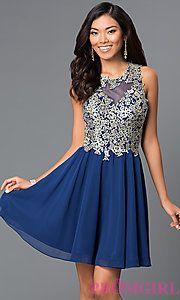 Buy Short Illusion Sweetheart Homecoming Dress by Faviana S7668 at PromGirl
