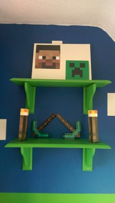 Minecraft shelves Boys Minecraft Bedroom, Minecraft Room Decor, Minecraft Decorations, Minecraft Crafts, Lego Bedroom, Childs Bedroom, Minecraft Furniture, Minecraft World, Minecraft Cake