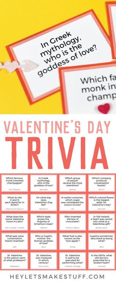 valentines day party Test your knowledge of all things St. Valentine, Cupid, chocolate, and hearts with this fun printable Valentines Day Trivia! Perfect for trivia night or as a fun Valentines Day activity. Show off your smarts or learn something new! Valentines Day Trivia, Valentines Day Activities, Valentine Cupid, Printable Valentine, Valentine Party, Saint Valentine, Valentine Ideas, Valentine's Day Party Games, Party Time