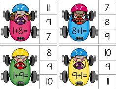 Addition and Subtraction Clip Cards Toddler Learning Activities, Baby Learning, Preschool Activities, Math For Kids, Fun Math, English Grammar For Kids, 1st Grade Math Worksheets, Nonsense Words, Math Strategies