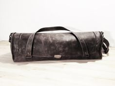 Gray Leather Chef Bag Gift For Chef Leather Knife by YaelHeffer