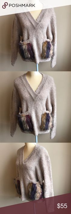 Women's Clothing Persevering Liz Claiborne Large Purple Chunky Knit Sweater Scoop Neck Long Sleeve Loose Fit
