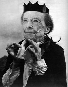 """sublimespy:  Louise Bourgeois in a 1997 Helmut Lang advertisementBruce Weber: """"Helmut Lang asked me to take a picture of Louise. I asked if it was important to show any objects or clothes, and he said 'No, but I made a little crown for her and maybe she'll wear it, maybe she won't.'"""""""