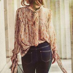 """""""Diana"""" chiffon blouse with ties  #chiffon #lurex #chiffonblouse #fashion #blouse #style #retrostyle #pattern"""