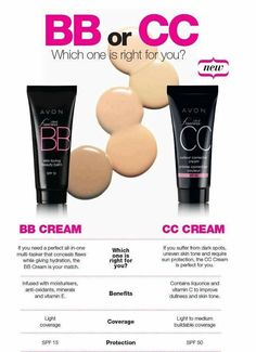 Do you know the difference between BB and CC creams?  Here's a little chart to help you out.  #Avon #Avonmakeup www.youravon.com/lmonoson