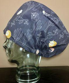 Cactus & Flowers on Navy Surgical Scrub Hat, Women's Desert Inspired Modified Bouffant Scrub Cap, Operating Room Hat, Custom Caps Company by CustomCapsCompany on Etsy