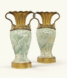 A PAIR OF GILT-BRONZE MOUNTED CHINESE CELADON PORCELAIN VASES, THE PORCELAIN LONGQUAN (14TH / 15TH CENTURY), THE MOUNTS LOUIS XVI