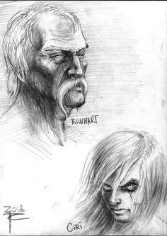 Ciri and Bonhart (The witcher books) by Tot Chehovich on ArtStation at https://www.artstation.com/artwork/mlQ58