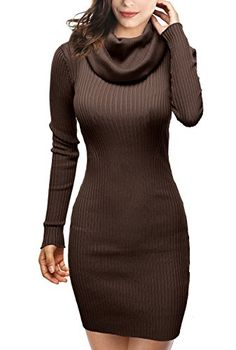 3d66aa3301d DJT Womens Slim Fit Cowl Neck Long Sleeve Knit Sweater Dress One Size  Coffee Dry clean Cowl neck