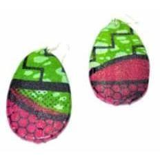 African Wood Earrings, African Fabric Cover Earrings Ankara Print Earrings