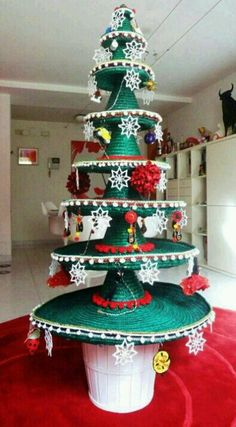 Not your average Mexican Christmas tree--I like the idea of maybe doing a smaller scale version of this as a decoration/way of displaying food for food buffet.