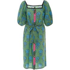 Rhode Resort Andrea Midi Button Down Dress (6.696.495 VND) ❤ liked on Polyvore featuring dresses, print, button up dress, short-sleeve dresses, green midi dress, short sleeve midi dress and print midi dress