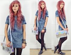 New Look Denim Shift Dress, Henry Holland Alphabet Tights, Zatchels Holographic Satchel, Ju Ju Clear Glitter Jelly Sandals