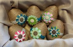 Jute Twine Wrapped Easter Egg Decor by TheRusticTrunk. Use these as parts of centerpieces, mantel displays, and photo props.