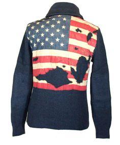 Ralph Lauren Mens Sweater USA Flag Cardigan Denim & Supply Blue Sz M NEW $145 #RalphLauren #Cardigan