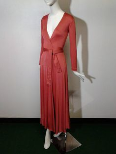 1970s Scott Barrie Persimmon Matte Jersey Disco Wrap Dress | From a collection of rare vintage evening dresses at https://www.1stdibs.com/fashion/clothing/evening-dresses/