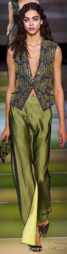 Giorgio Armani ~ Kiwi Green + Purple Print Vest + Kiwi Silk Trousers, 2015
