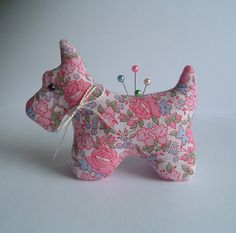 Sweet Scottie Dog Pincushion with Rare and Beautiful Roses Vintage Feedsack Fabric