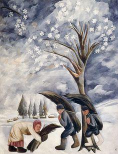 Natalia Goncharova (1881-1962) was een Russische avant-garde schilder. Nadat een aantal studenten waren verdreven uit de kunst opleiding wegens het nabootsen van de hedendaagse stijl van de Europese modernisme, Goncharova , Larionov, Robert Falk , Pjotr Kontsjalovski , Alexander Kuprin , Ilya Mashkov en anderen vormden Moskou's eerste radicale onafhankelijke groep, de Jack of Diamonds. Zij was een lid van de Der Blaue Reiter avant-garde groep uit de oprichting in 1911.  -1911