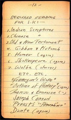 Jack Kerouac's reading list, 1940 - age 18.