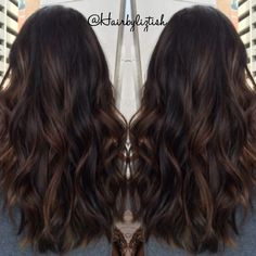 Balayage I painted on my dear friend Becca #balayage #brunette #handpainted… …