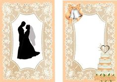 SILHOUETTE OF WEDDING COUPLE A5 INSERT on Craftsuprint designed by Nick Bowley - SILHOUETTE OF WEDDING COUPLE WITH CAKE A5 INSERT, Can also be seen in 8x8 mini kit, also matching peach lace insert, can be used for this design, lots of other colour - Now available for download!