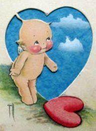 Vintage Kewpie Valentine Postcard Close-Up by chicks57, via Flickr