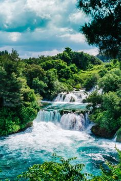 "drxgonfly: ""Krka Waterfalls, National Park, Split, Croatia (by norsez oh) "" Joli Beautiful Waterfalls, Beautiful Landscapes, Places Around The World, Travel Around The World, Places To Travel, Places To See, Krka Waterfalls, Photos Voyages, Croatia Travel"