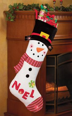 Lighted Color Changing Snowman Stocking