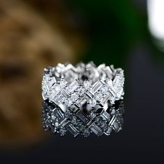 Boasting a sleek silvertone base and embellished with crystals from Swarovski®, this elegant ring puts the shimmering finishing touch on your ensembles. Swarovski Crystal Rings, Beaded Rings, Princess Cut Engagement Rings, Fashion Rings, Beautiful Rings, Ring Designs, Wedding Rings, Wedding Band, Bling