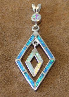 fire opal necklace pendant Gemstone silver jewelry unique modern cocktail U63E #Pendant