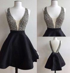 Cute Homecoming Dress,Beading Homecoming Dress,V-Neck Homecoming Dress,Short Prom Dress