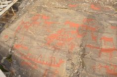 Rock paintings, showing the life of the people who lived her for 6000 years.