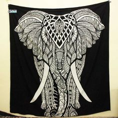 Black And White Big Elephant Large Tapestry Trippy Tapestry, Dorm Tapestry, Tapestry Bedroom, Bohemian Tapestry, Mandala Tapestry, Mandala Art, Cheap Room Decor, Diy Bedroom Decor, Bedroom Ideas